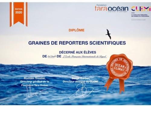 Océan et climat, graines de reporters scientifiques – l'EFIR distinguée – copy